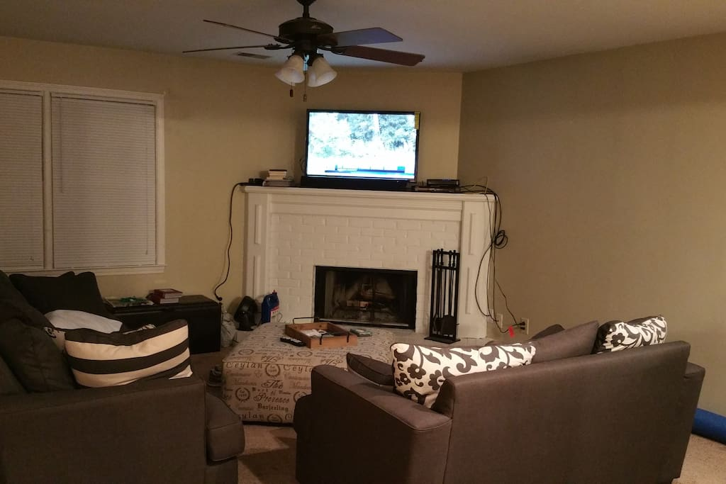 "42"" TV with Dish Network (SEC Network incl.) Wood burning fireplace."