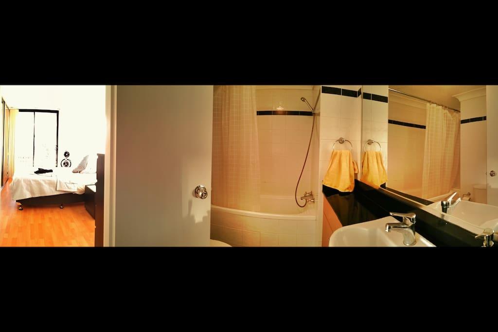 It's a good sized en-suite complete with bathtub
