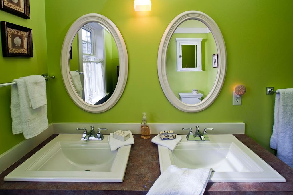 The vanity area in the private bathroom.