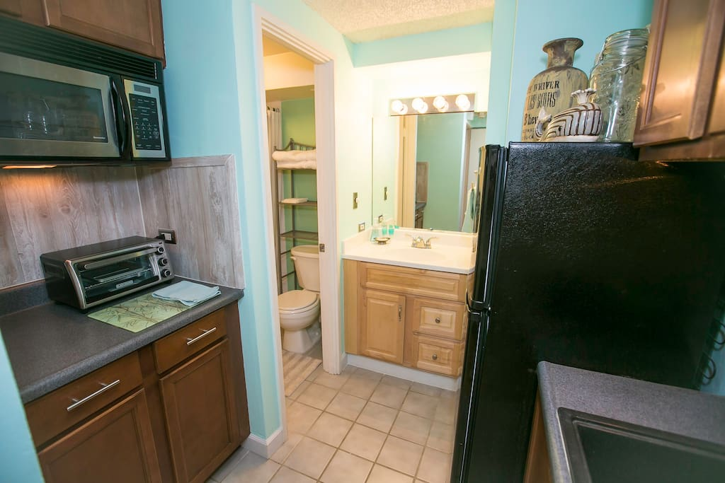 Kitchenette with full refrigerator and all the essentials
