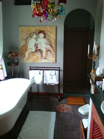 Badkamer met grote inloopdouche en bad.