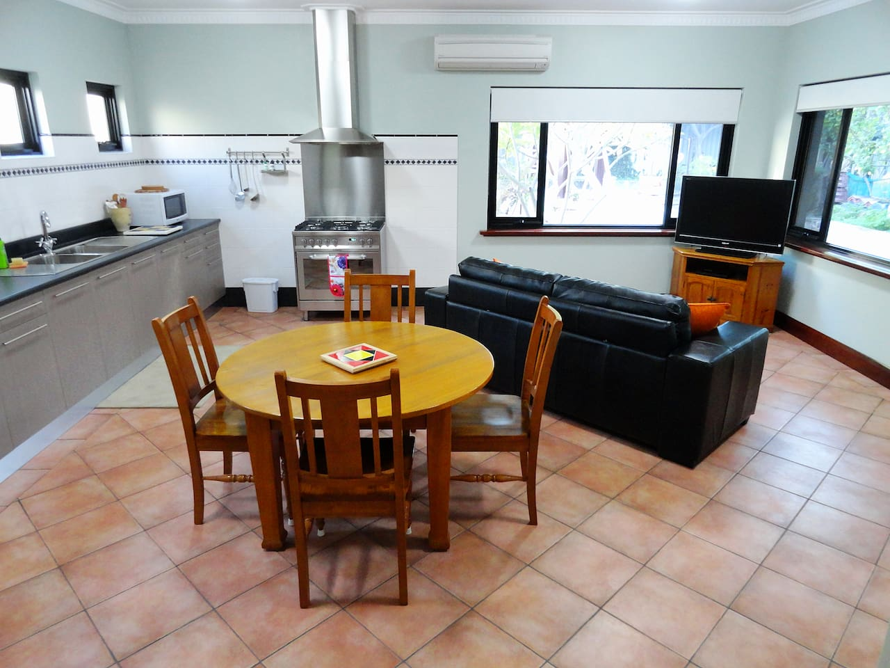 Spacious kitchen and dining / living area.