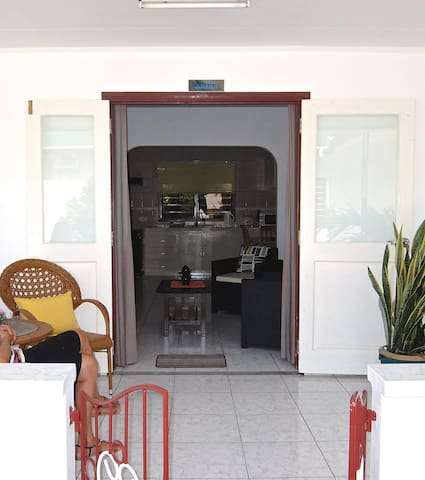 """Front entrance of """"Aride"""" Bungalow leading into open plan living room and kitchen / dining room"""
