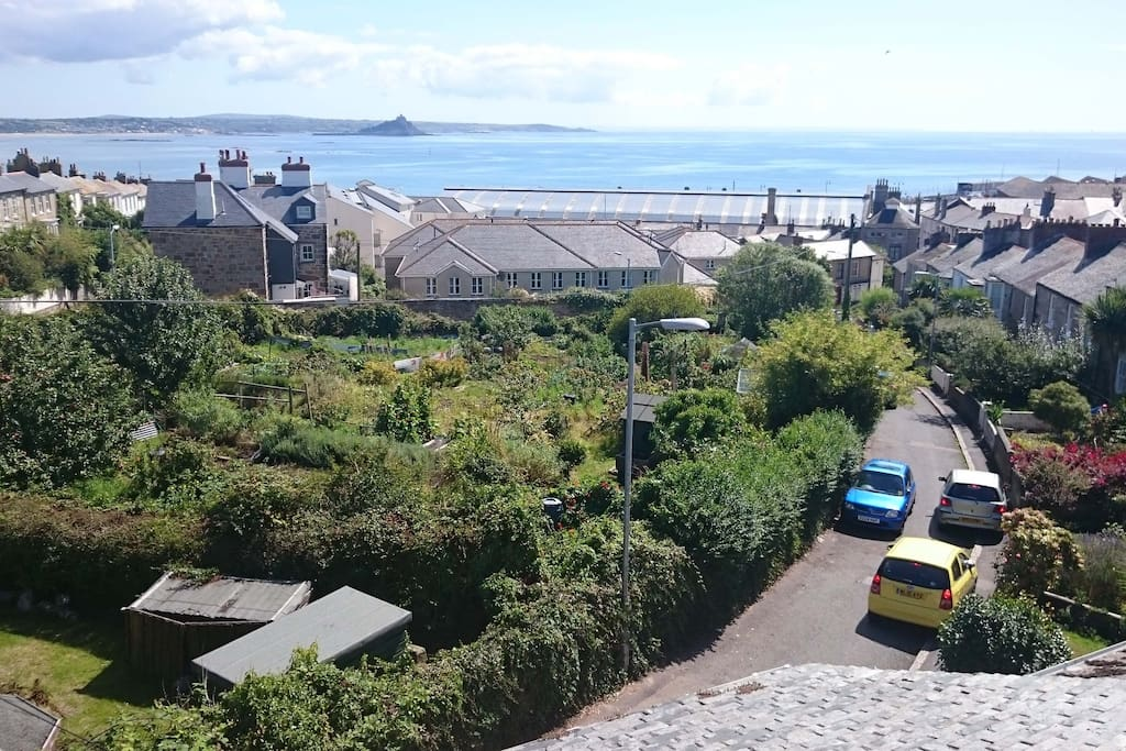 Overlooking gardens & allotments, with sea beyond