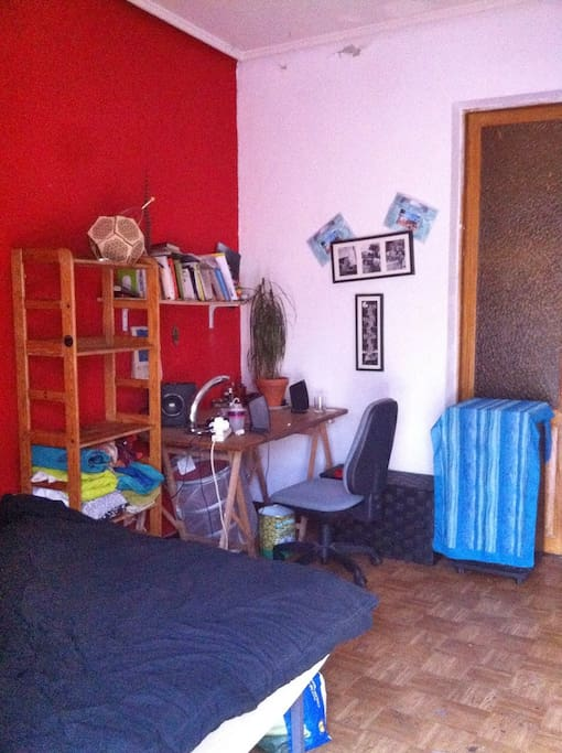 Habitación, con escritorio y estantería. plantas y decoración artística