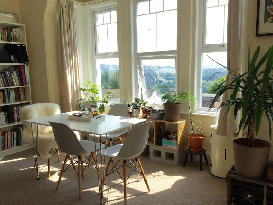 Sunny lounge and dining room with great views