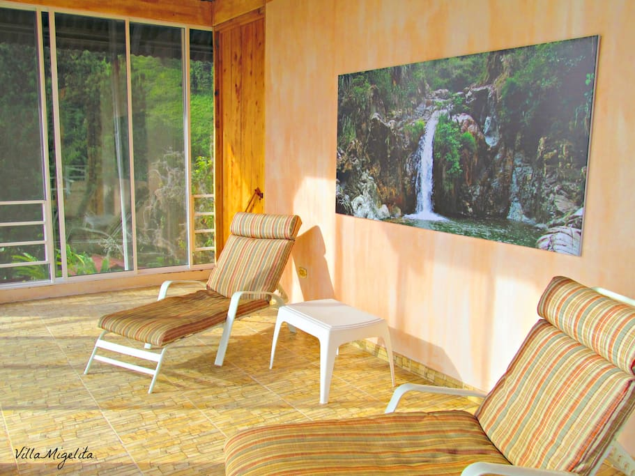 Private sun room for the Villa Migelita Suite with a huge balcony overlooking the Valle del Cauca