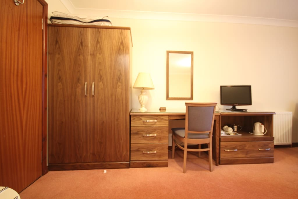 Writing Desk, TV, Wardrobe and desk chair