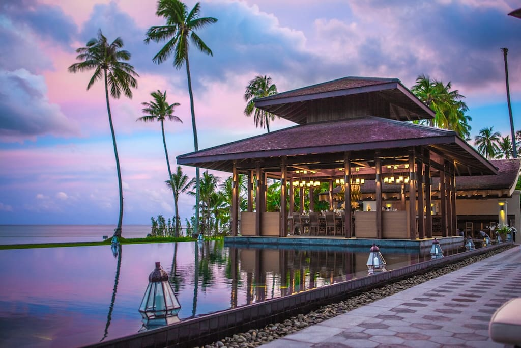Our open dining sala overlooks the pool and the calm waters of Phang Nga Bay—plus its rock formations.