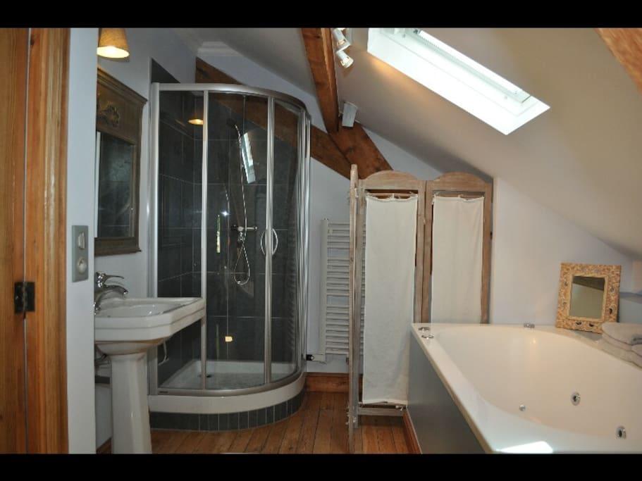 Baignoire jacuzzi douche wc salle de bain ouverte sur la chambre