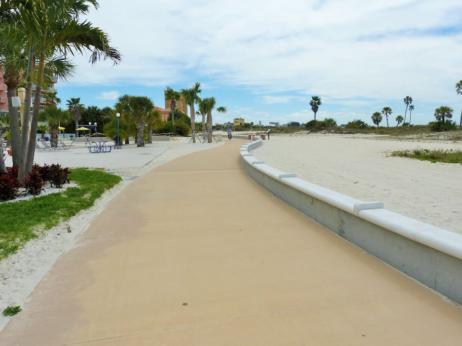 Treasure Island beach has an amazing boardwalk that you can take a stroll, a bike ride, or a run!