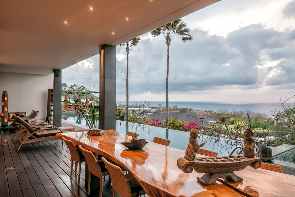 Our pool side terrace featuring incredible panoramic ocean views