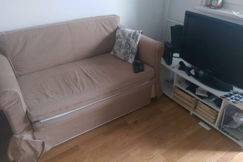 Pull out bed and TV with cable