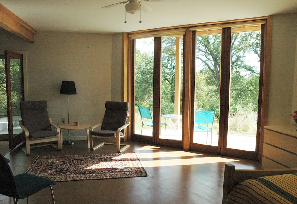 Sitting area with view over the river valley