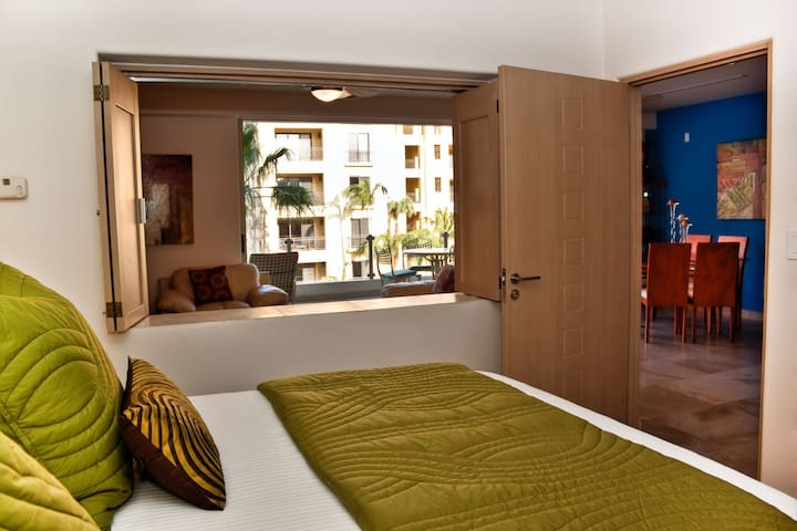 Master Bedroom with view to living room