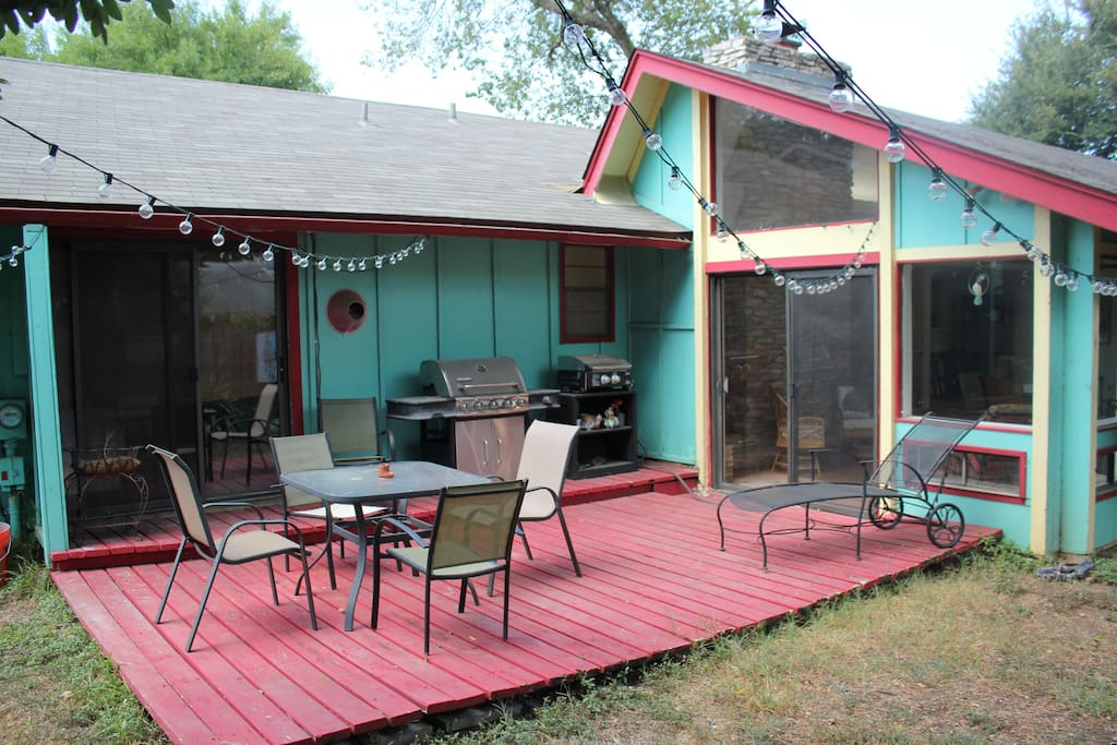 Back Deck! Master Suite doors to the left, Sunroom doors to the right.