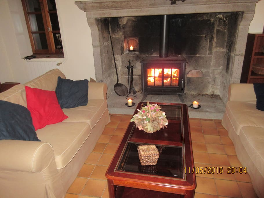 Cosy log fire for cooler evenings.