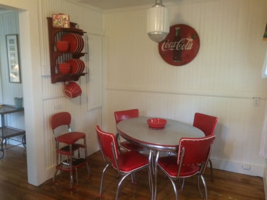 Step back in time to  a retro fitted 1950's era Coca Cola kitchen.