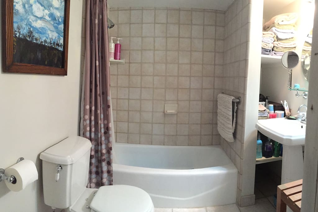 Private bathroom with shower over tub. Towels, shampoo, conditioner & soap are provided.