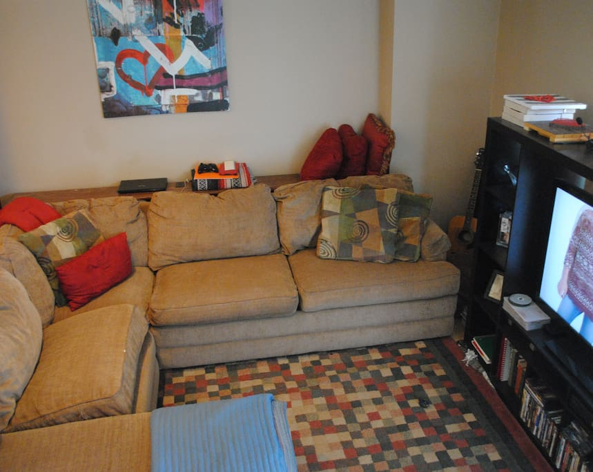 Full size sectional sofa and 50 inch TV