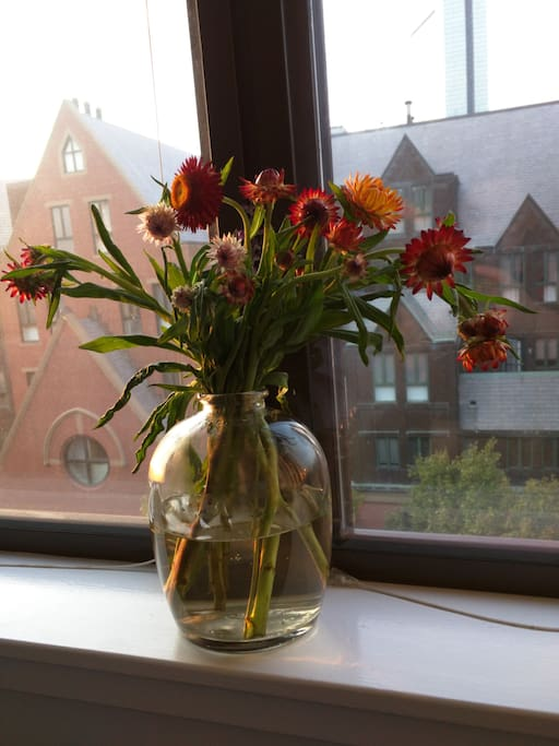 Flowers in the master bedroom