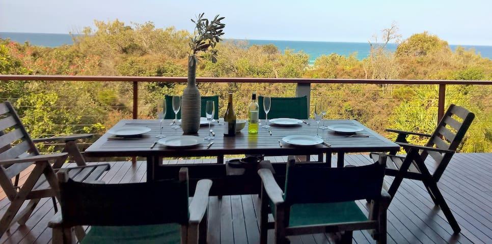 massive verandah for entertaining, with beach views