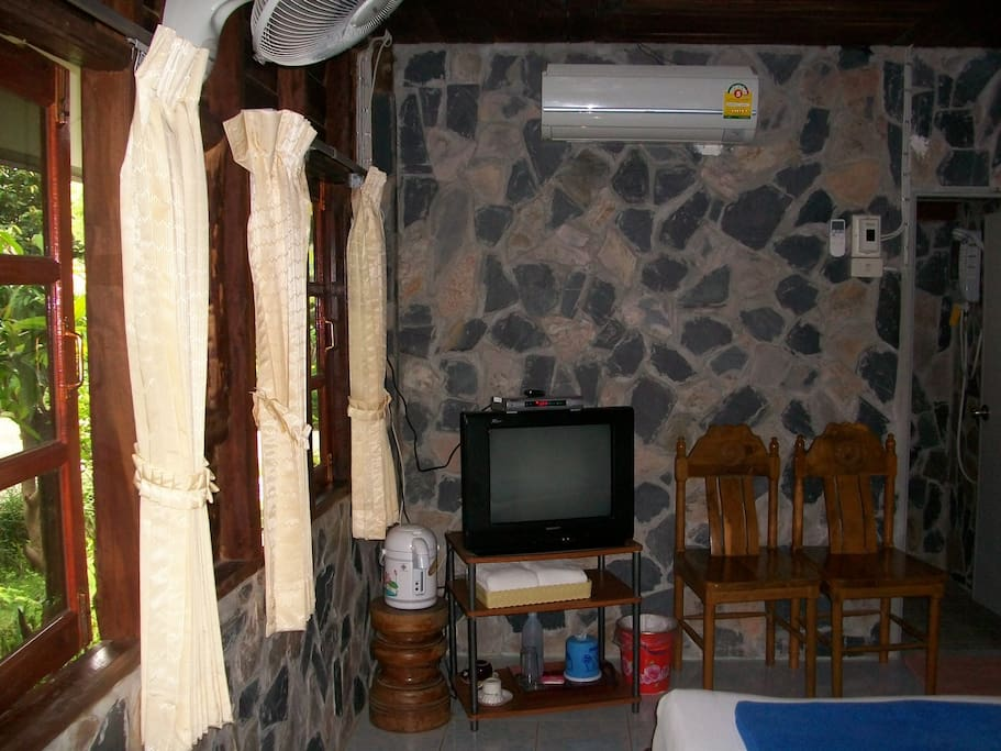 Every cottage has air conditioning, cable TV and hot water for coffee or tea.