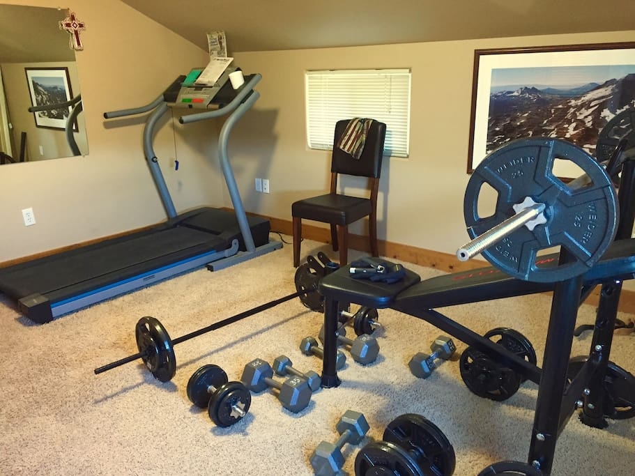 Complimentary gym with free weights, Pilates Ball, Nordictrack programmable treadmill, whisper quiet recumbent bike, leather jump rope, multiple resistance bands.  Not sure what to do?  His and her workout books will complete your workout!