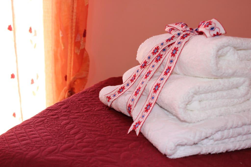 Biancheria con cambio giornaliero. Set biancheria: 1 telo doccia, 2 asciugamani. Possibilità di biancheria extra su richiesta.