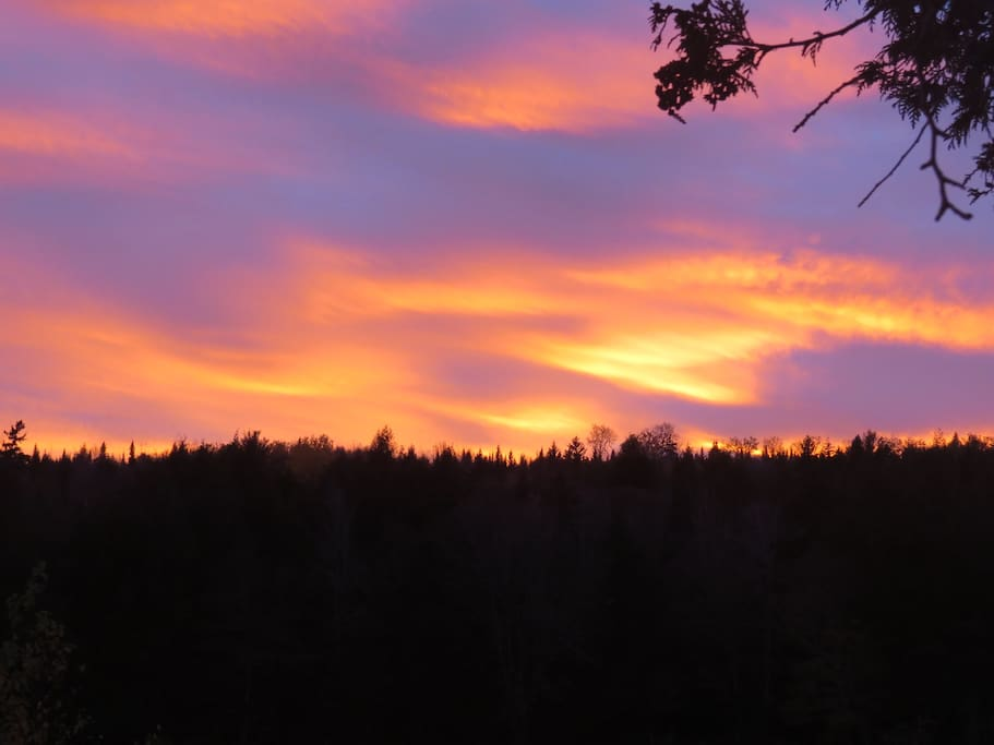 Sunset over the Nashwaak - view from the front stoop of the home