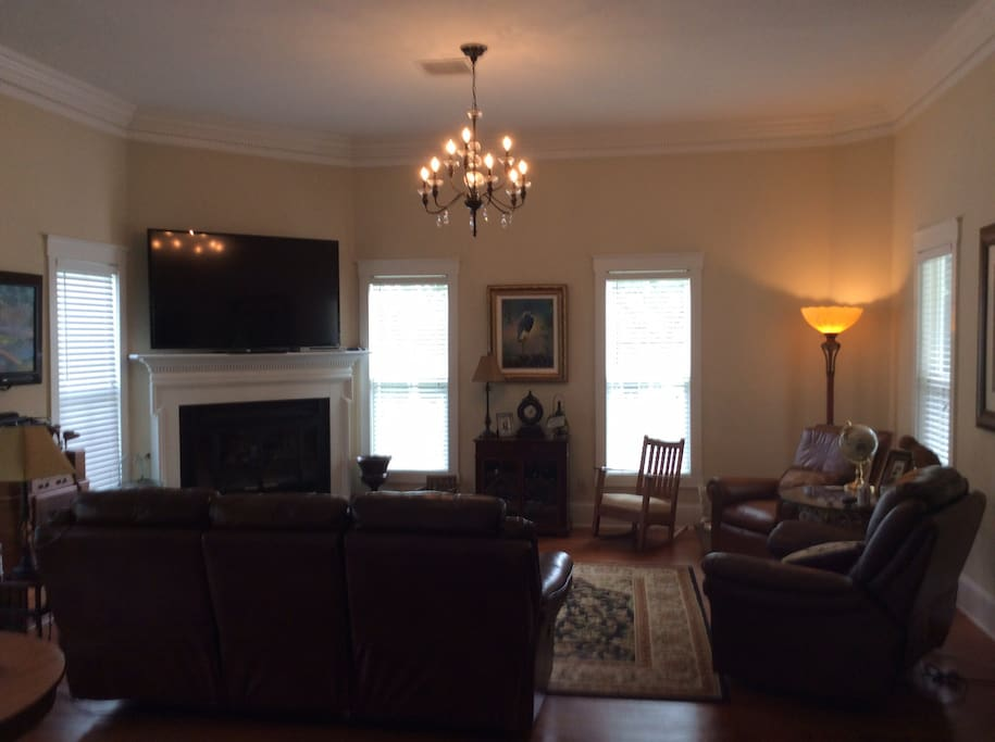 Living room with original art and spacious rooms