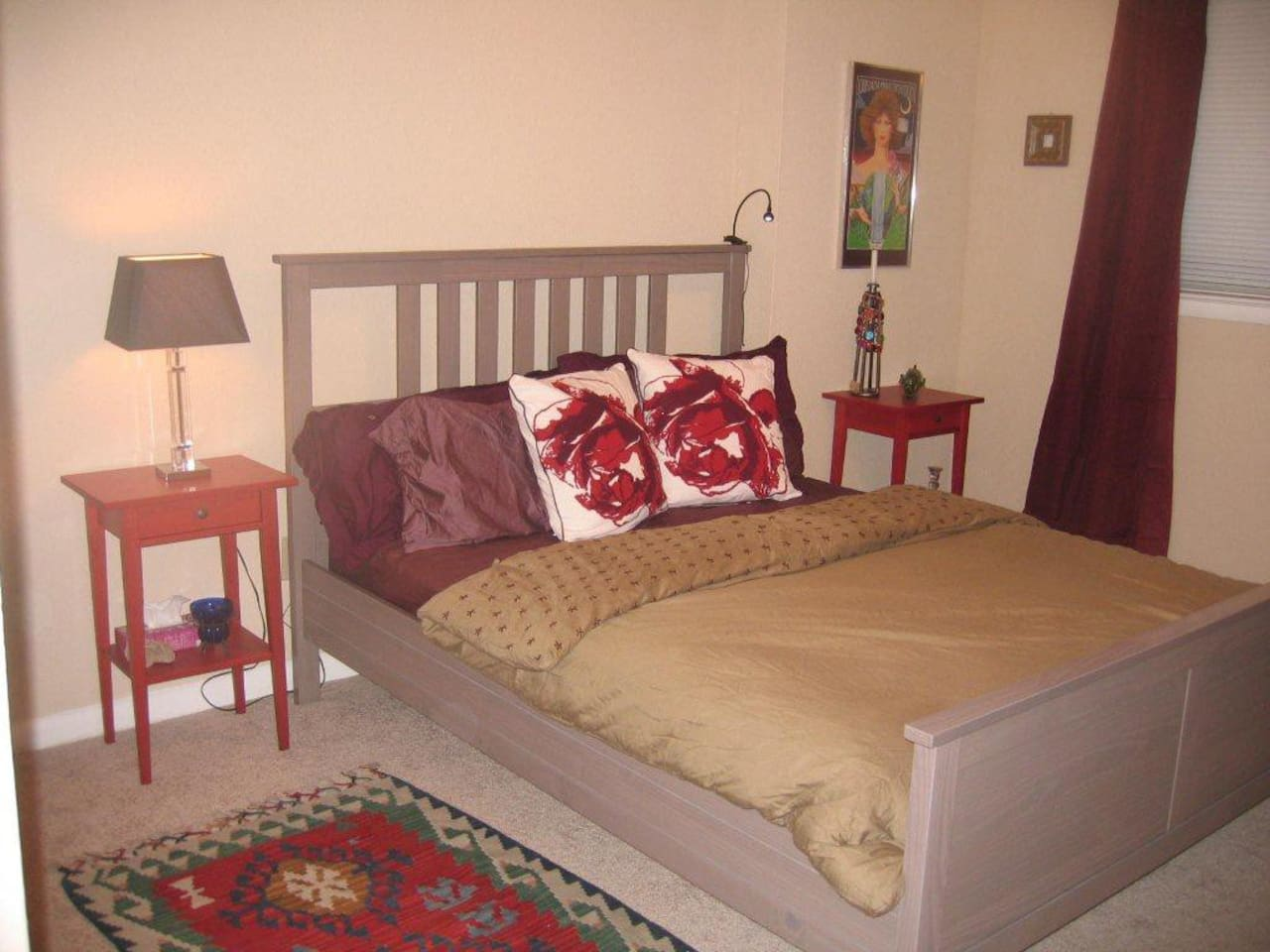 A comfortable, private room with queen bed.