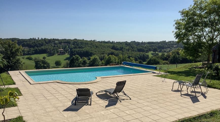 Cottage & countryside views with private pool.