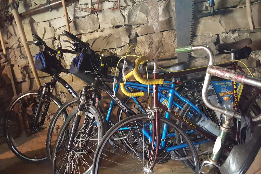 6 bikes in the barn for your use on local rail trails
