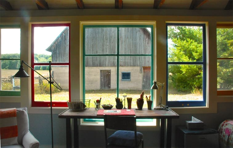 view from inside artistic studio