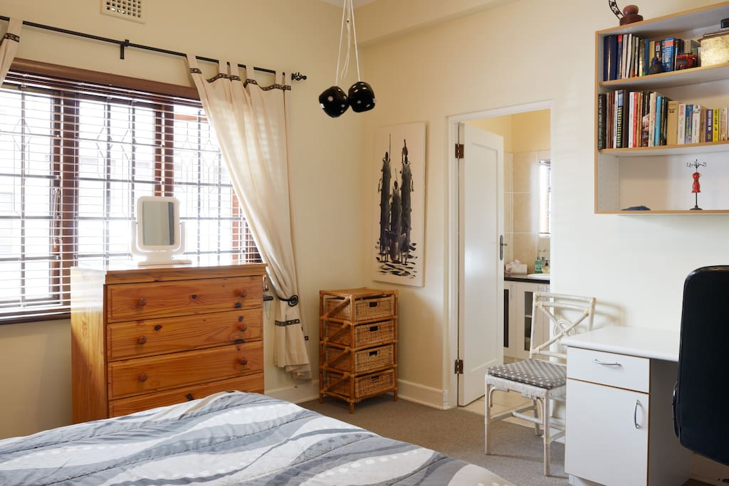 Bright and airy room plus quiet desk space