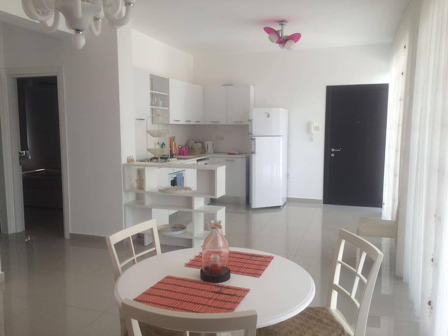 Dining area of a 2 bedroom apartment on the top floor / Обеденная зона квартиры на втором этаже