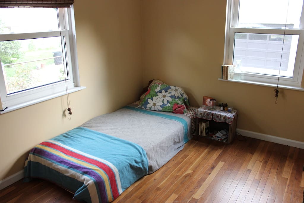 Long view of the room, with both windows (and some of that classic American lit)!