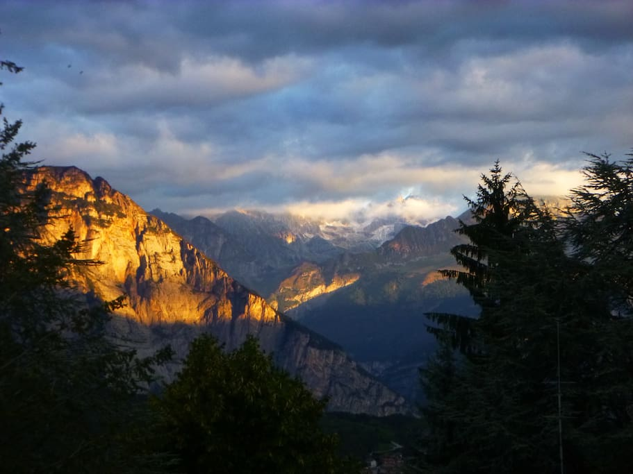 September' sunrise, view on the Dolomites