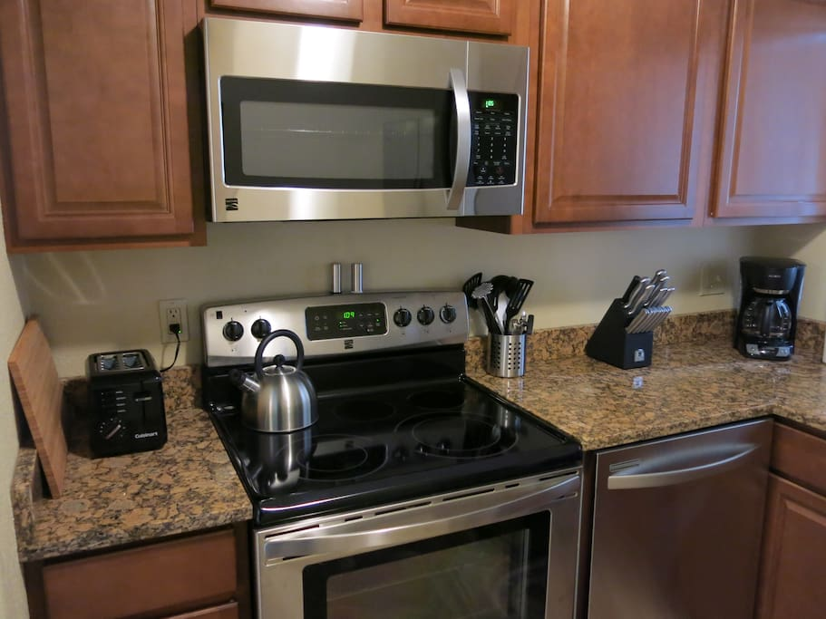 The apartment kitchens are fully stocked with pots,pans, baking dishes, utensils, glassware, small appliances and more!