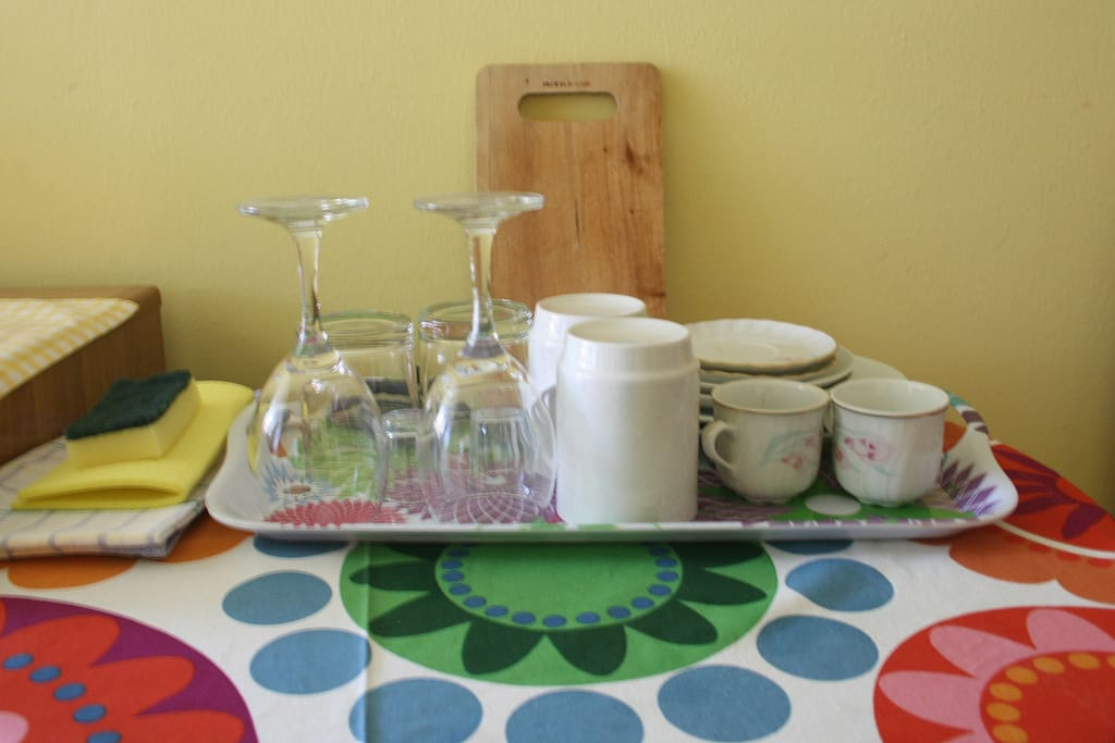 Dinning set, set of glasses, mugs and plates