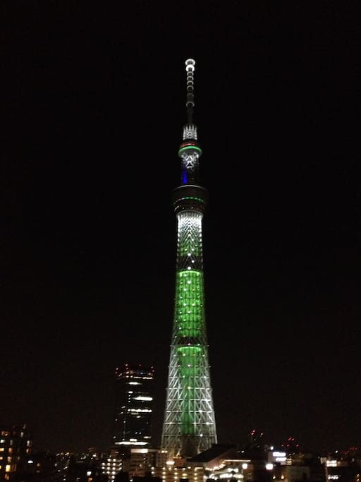 Skytree in the night. Turn to the right 90°!