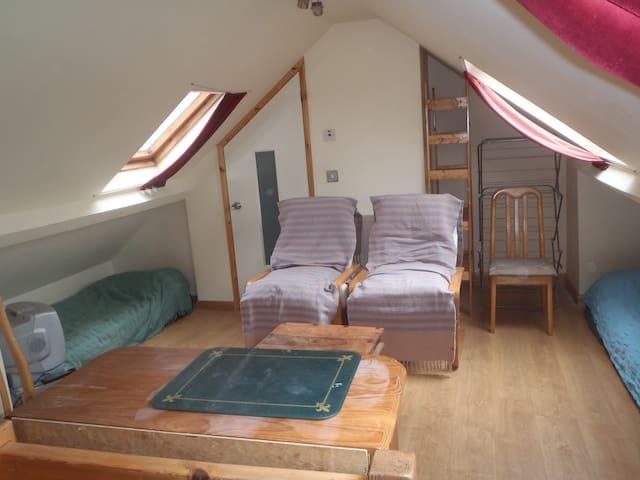 Twin bed loft room & own bathroom.