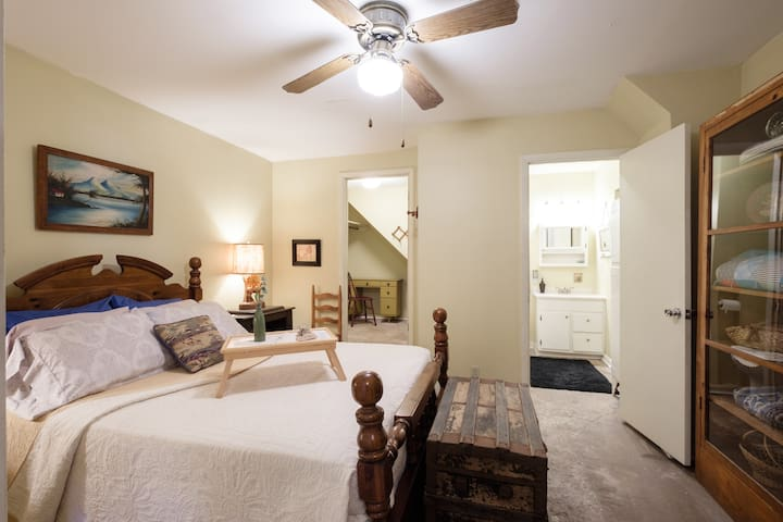 Peaceful master bedroom with queen size bed