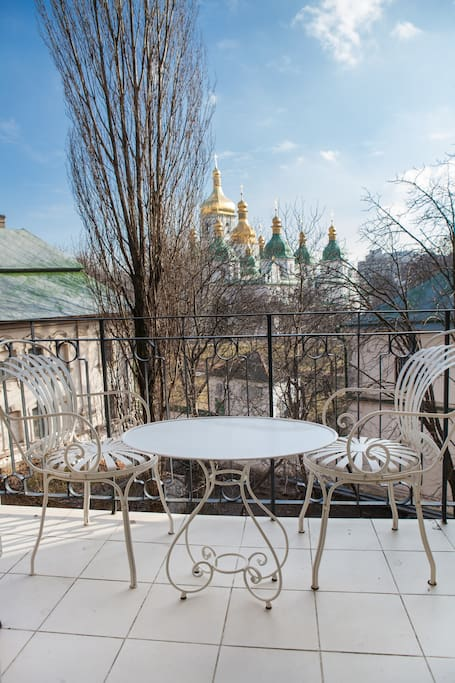 View from the balcony, the inner yard of St. Sophia Cathedral. The most quiet and picturesque place in Kiev