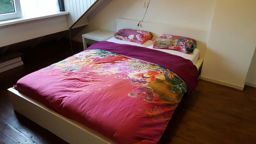 Attic room with double bed