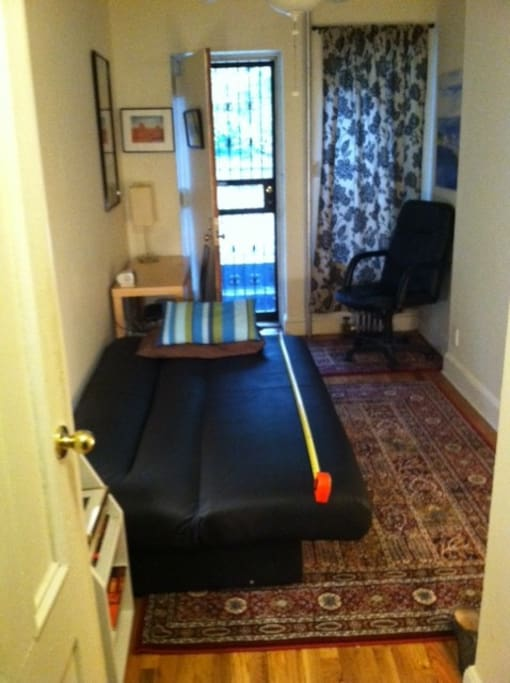 Sofa Bed and door to back yard. Door to apartment and bathroom left