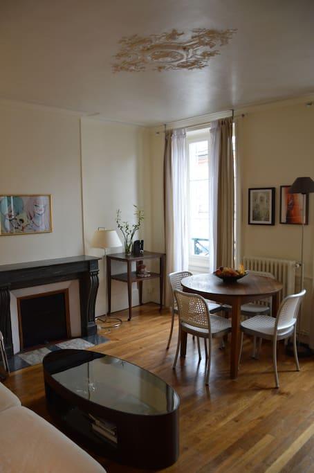 Appartement ancien : parquet, moulures, cheminée (décorative)