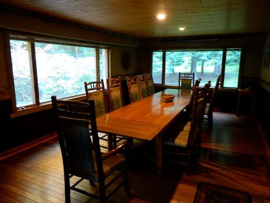 Large dining room with table that expands to seat 20