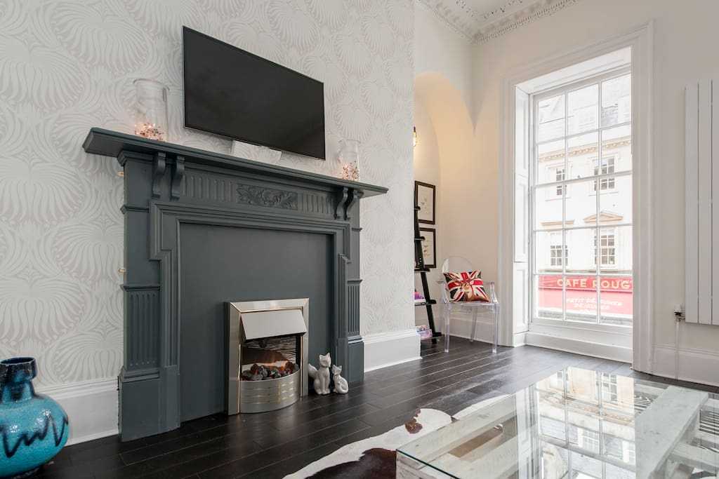 Cozy electric fireplace for romantic evenings
